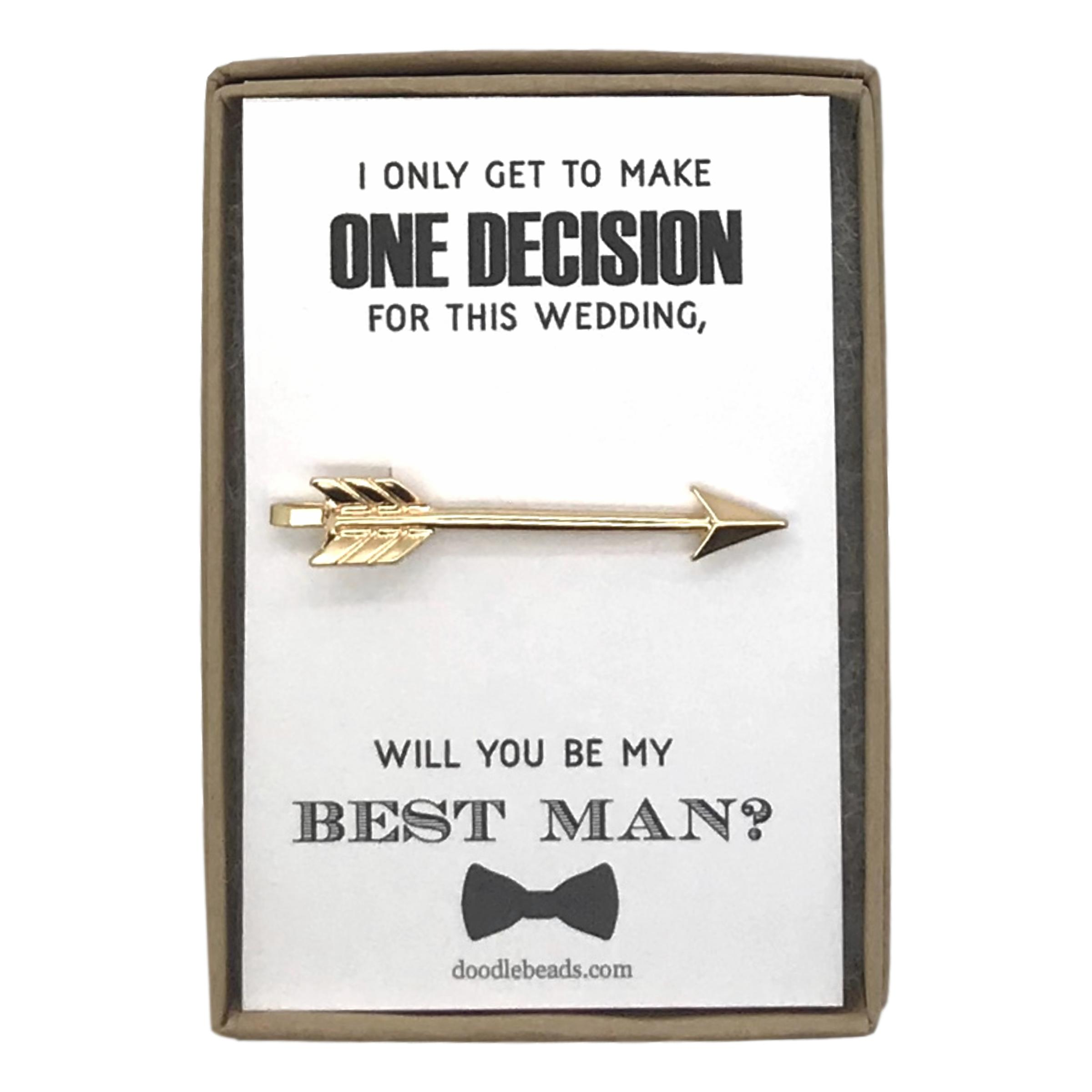 ab078abc78bd1 Best Man Proposal - Silver or Gold Arrow Tie Bar, One Decision